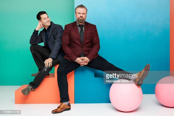 Writer David Schulner and actor Tyler Labine are photographed for Entertainment Weekly Magazine on February 27 2020 at Savannah College of Art and...