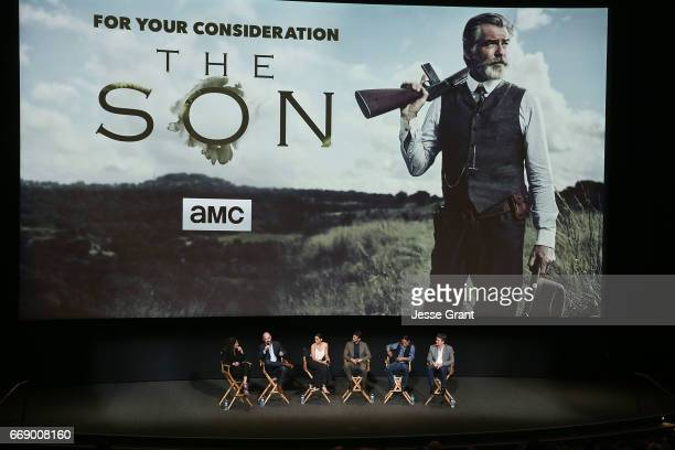 Writer Debra Birnbaum show creator Philipp Meyer actress Paola Nunez actor Henry Garrett actor Zahn McClarnon and writer Kevin Murphy attend AMC's...