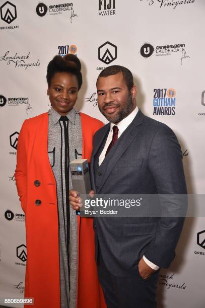 Writer Dee Rees and Jordan Peele pose with the Best Screenplay Award at The 2017 IFP Gotham Independent Film Awards cosponsored by FIJI Water at...