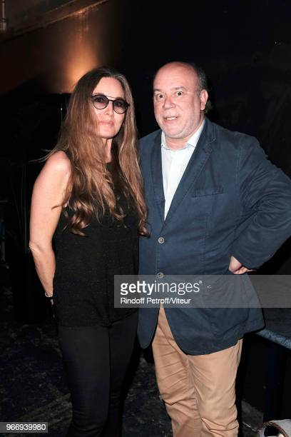 Writer Delphine Marang Alexandre and Academician Marc Lambron attend Sans Moderation Laurent Gerra's Show at Palais des Sports on June 3 2018 in...