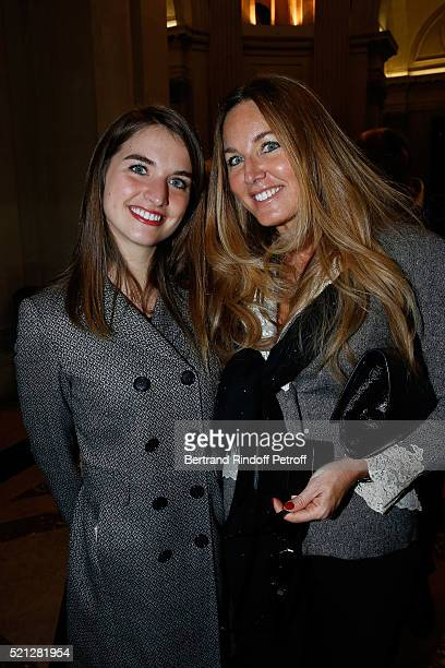 Writer Delphine Marang Alexandre and her daughter Clemence attend Marc Lambron becomes a Member of the Academie Francaise Official Ceremony on April...