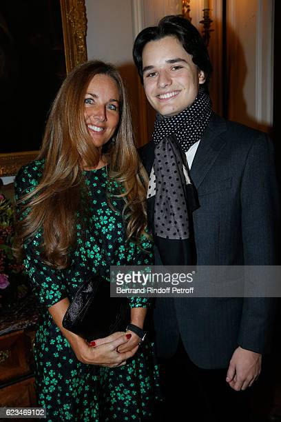 Writer Delphine Marang Alexandre and her son Victor Alexandre attend the Reception for the King of Belgians Day at Belgium Ambassy on November 15...