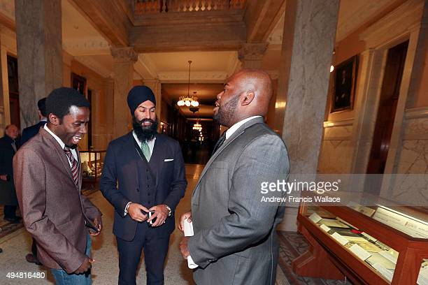 TORONTO ON OCTOBER 28 Writer Demond Cole Brampton MPP and deputy Ontario NDP leader Jagmeet Singh and African Canadian Legal Clinic lawyer Anthony...
