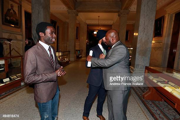 TORONTO ON OCTOBER 28 Writer Demond Cole celebrates a change to the Province's carding policy as Brampton MPP and deputy Ontario NDP leader Jagmeet...