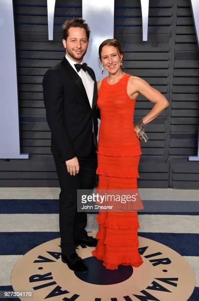 Writer Derek Blasberg and CEO of 23andMe Anne Wojcicki attend the 2018 Vanity Fair Oscar Party hosted by Radhika Jones at Wallis Annenberg Center for...
