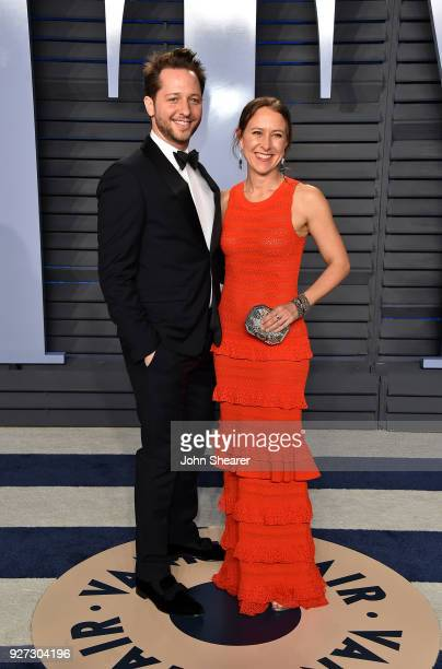 Writer Derek Blasberg and CEO of 23andMe Anne Wojcicki attend the 2018 Vanity Fair Oscar Party hosted by Radhika Jones at Wallis Annenberg Center for...