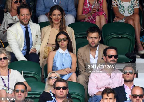 Writer Derek Blasberg and Coco Brandolini d'Adda actors Bel Powley and Douglas Booth attend day seven of the Wimbledon Tennis Championships at the...