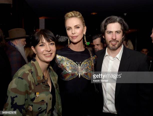 Writer Diablo Cody actress Charlize Theron and director Jason Reitman pose at the after party for the premiere of Focus Features' 'Tully' at WP24 on...
