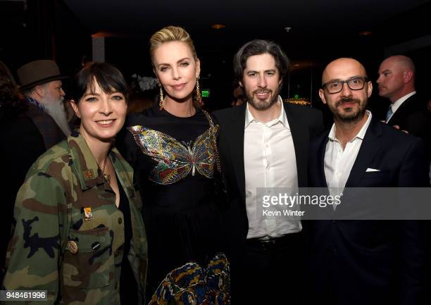 Writer Diablo Cody actress Charlize Theron director Jason Reitman and Peter Kujawski Chairman Focus Features pose at the after party for the premiere...