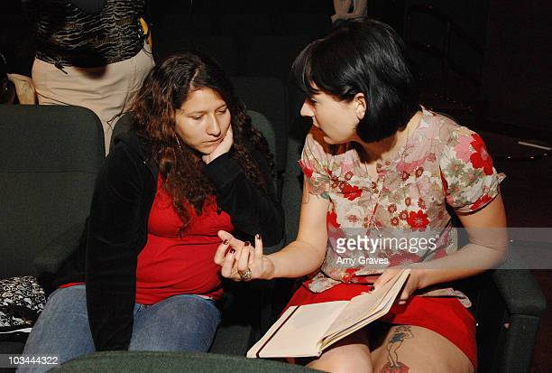Writer Diablo Cody offers advice to a participant in the Hollywood Writers Give Back WriteGirl's Annual Screenwriting Workshop at the American Film...