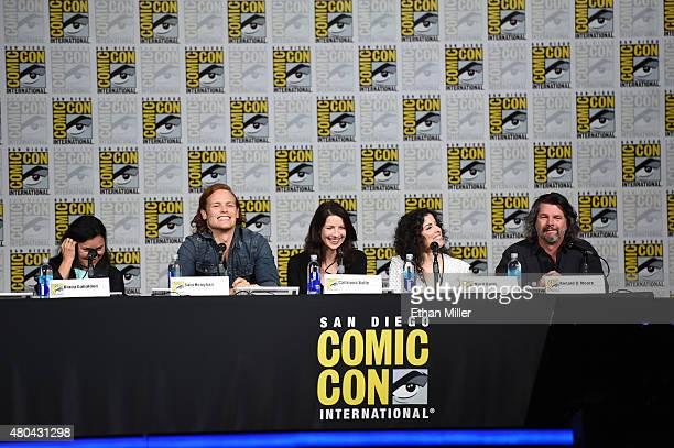 Writer Diana Gabaldon, actor Sam Heughan, actress Caitriona Balfe, producer Maril Davis and writer/producer Ronald D. Moore attend the Starz:...