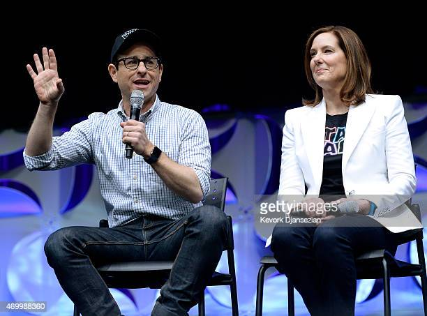 Writer director and producer JJ Abrams and producer Kathleen Kennedy of the film Star Wars The Force Awakens participate in a panel at the kickoff...