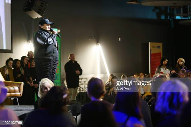 Writer, Director and Star of 'The 40 Year Old Version' Radha Blank speaks onstage during the 2020 Women at Sundance Celebration hosted by Sundance...