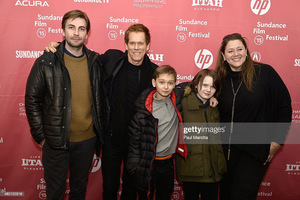 Writer Director Jon Watts, Kevin Bacon, James Freedson-Jackson, Hays Wellsford and Camryn Manheim attend the premiere of 'Cop Car' during the 2015 Sundance Film Festival on January 24, 2015 in Park City, Utah.