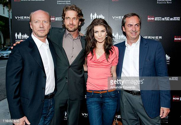 Writer / director Paul Haggis actor Gerard Butler actress AnnaLynne McCord and Vhernier Jewels President Carlo Traglio arrive at the Artists for...