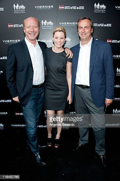 Writer / director Paul Haggis actress Elizabeth Banks and Vhernier Jewels President Carlo Traglio arrives at the Artists for Peace and Justice A Ring...