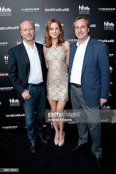 Writer / director Paul Haggis actress Eva Amurri and Vhernier Jewels President Carlo Traglio arrive at the Artists for Peace and Justice 'A Ring to...