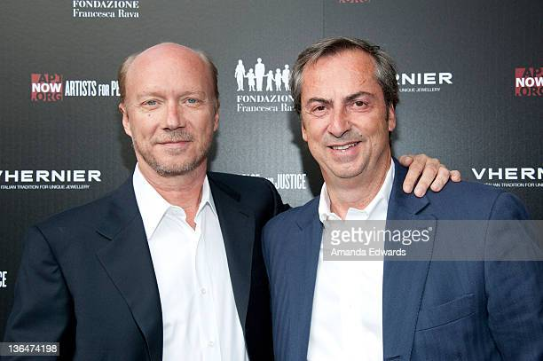 Writer / director Paul Haggis and Vhernier Jewels President Carlo Traglio arrive at the Artists for Peace and Justice A Ring to Educate a Child in...