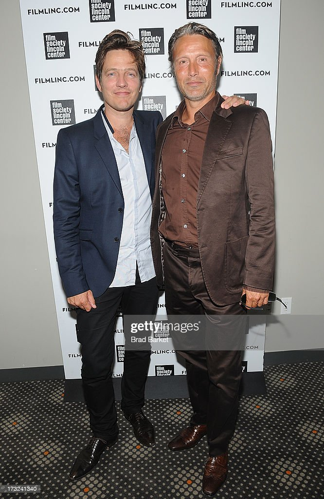 Writer, Director Thomas Vinterberg (L) and Actor Mads Mikkelsen attend 'The Hunt' New York Premiere at Elinor Bunin Munroe Film Center on July 10, 2013 in New York City.