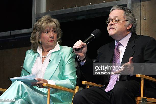 Writer Dr Neal Baer speaks as Safe Horizon's Linda Fairstein looks on during Safe Horizons presents an evening inside Law and OrderSVU at Crobar...