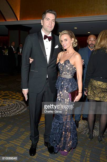 Writer Drew Goddard and Caroline Williams attend the Cocktail Reception before the 2016 Writers Guild Awards at the Hyatt Regency Century Plaza on...