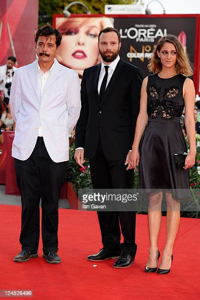 Writer Efthymis Filippou filmmaker Yorgos Lanthimos and actress Ariane Labed attend the Damsels In Distress premiere and closing ceremony during the...