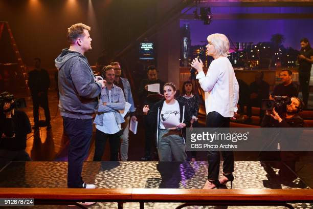 Writer Eliza Skinner and producer James Longman give notes during rehearsal of Drop The Mic with Helen Mirren and James Corden during The Late Late...