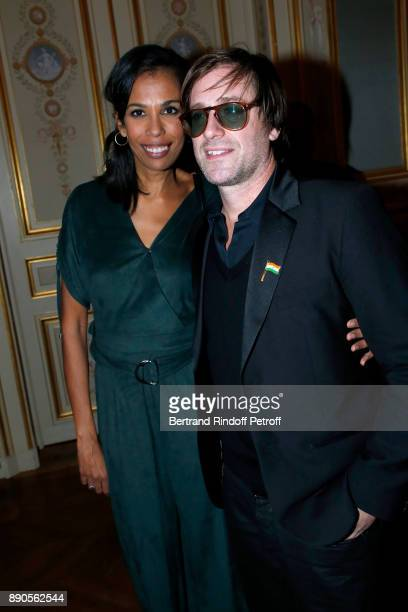 Writer Elizabeth Tchoungui and Support of Action Contre La Faim singer Thomas Dutronc attend Indian millionaire Sudha Reddy gives 135000 Euros to the...