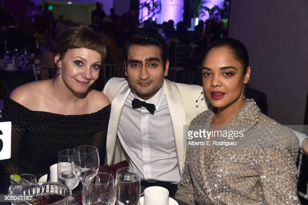 Writer Emily Gordon actors Kumail Nanjiani and Tessa Thompson attend the 49th NAACP Image Awards NonTelevised Award Show at The Pasadena Civic...