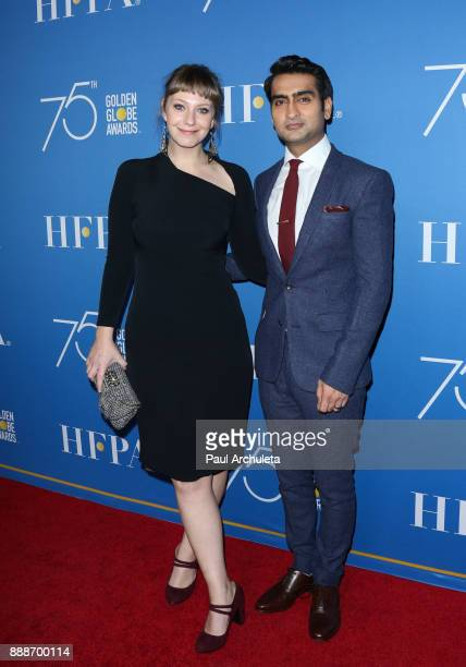 Writer Emily Gordon and Actor Kumail Nanjiani attend theÊGolden Globes 75th Anniversary special screening and HFPA holiday receptionÊat Paramount...
