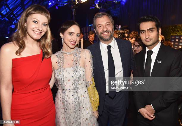 Writer Emily V Gordon actor Zoe Kazan producer Judd Apatow and writeractor Kumail Nanjiani attend The 23rd Annual Critics' Choice Awards at Barker...