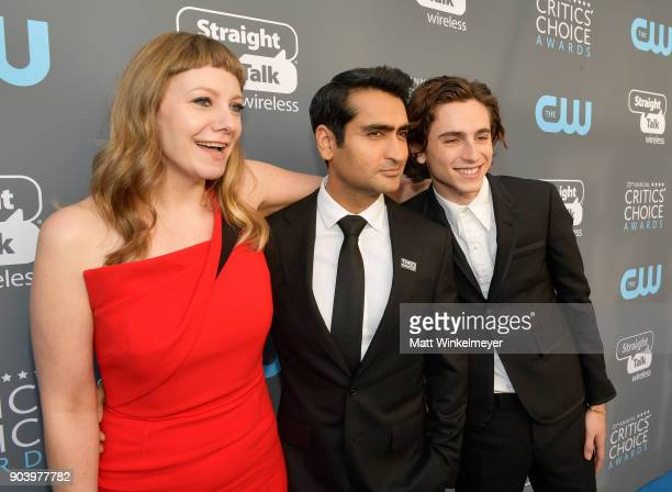 Writer Emily V Gordon actor/writer Kumail Nanjiani and actor Timothee Chalamet attend The 23rd Annual Critics' Choice Awards at Barker Hangar on...