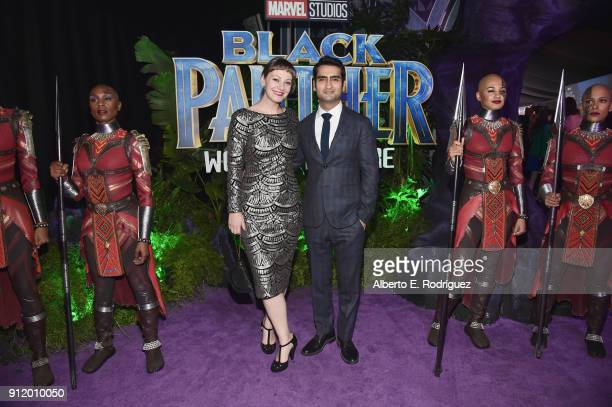 Writer Emily V Gordon and actor Kumail Nanjiani at the Los Angeles World Premiere of Marvel Studios' BLACK PANTHER at Dolby Theatre on January 29...