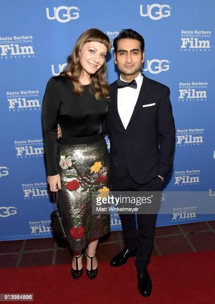 Writer Emily V Gordon and actor Kumail Nanjiani at the Virtuosos Award Presented By UGG during The 33rd Santa Barbara International Film Festival at...