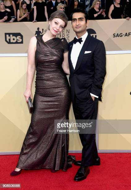 Writer Emily V Gordon and actor Kumail Nanjiani attend the 24th Annual Screen Actors Guild Awards at The Shrine Auditorium on January 21 2018 in Los...