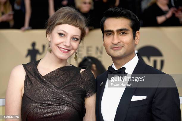 Writer Emily V. Gordon and actor Kumail Nanjiani attend the 24th Annual Screen Actors Guild Awards at The Shrine Auditorium on January 21, 2018 in...