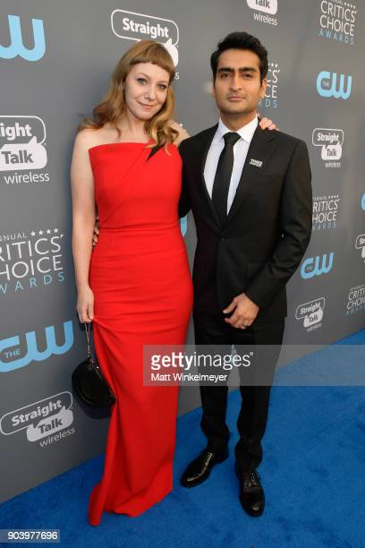 Writer Emily V Gordon and actor/writer Kumail Nanjiani attend The 23rd Annual Critics' Choice Awards at Barker Hangar on January 11 2018 in Santa...