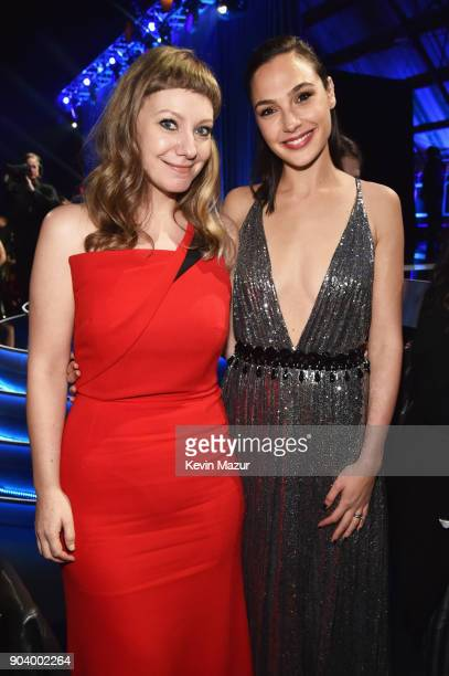 Writer Emily V Gordon and honoree Gal Gadot attend The 23rd Annual Critics' Choice Awards at Barker Hangar on January 11 2018 in Santa Monica...