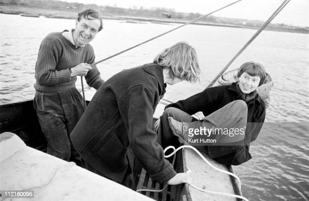 Writer Emma Smith sailing on the River Stour with her publisher James MacGibbon and her sister Pamela April 1950 Original Publication Picture Post...