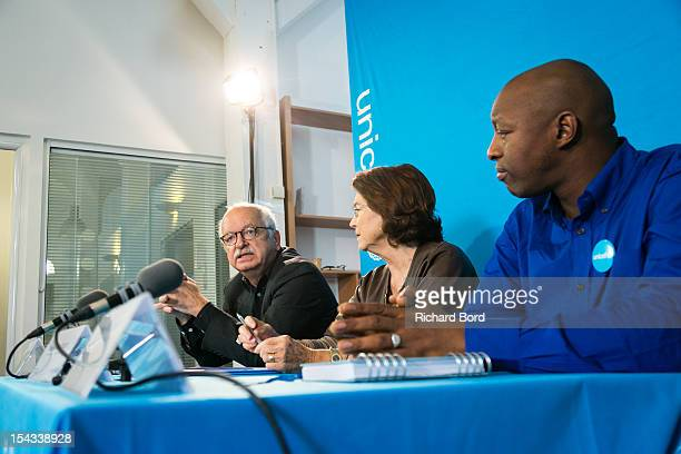 Writer Erik Orsenna Chairwoman of Unicef France Michele Barzach and rapper Oxmo Puccino attend the press conference for the nomination of Oxmo...