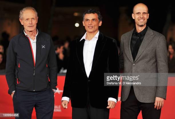 Writer Erri De Luca actor Enrico Lo Verso and director Edoardo Ponti attend the Il Turno Di Notte Lo Fanno Le Stelle Premiere during the 7th Rome...