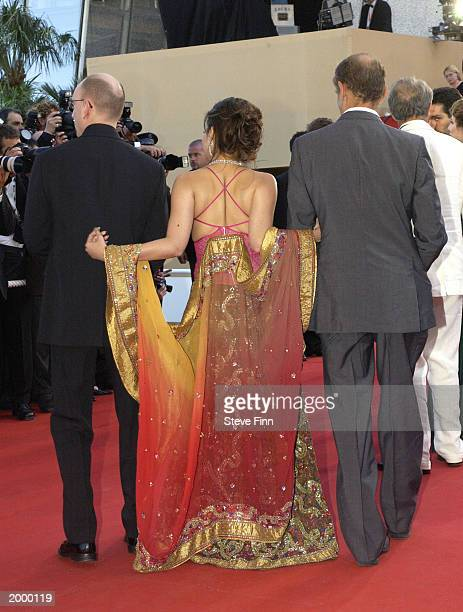 Writer Erri De Luca actress Aishwarya Rai and Director Steven Soderbergh attend the opening ceremony of the 56th International Cannes Film Festival...