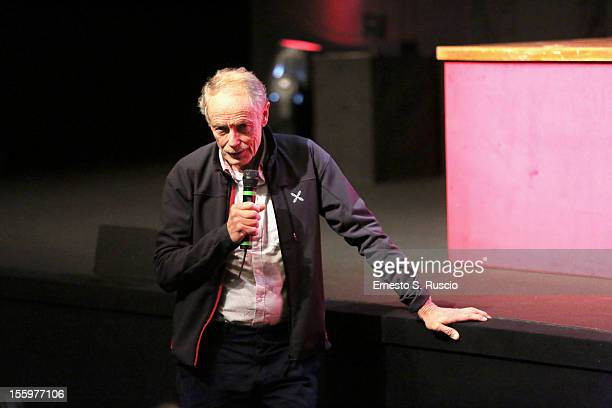 Writer Erri De Luca attends the Il Turno Di Notte Lo Fanno Le Stelle Press Conference during the 7th Rome Film Festival at the Auditorium Parco Della...