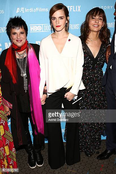 Writer Eve Ensler actress Emma Watson and director Madeleine Gavin attend the 2016 DOC NYC City Of Joy Premiere at SVA Theater on November 11 2016 in...