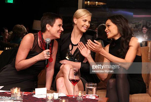 Writer Eve Ensler actresses Charlize Theron and Rosario Dawson attend Eve Ensler and VDay celebrate the opening of City of Joy in the DRC held at...
