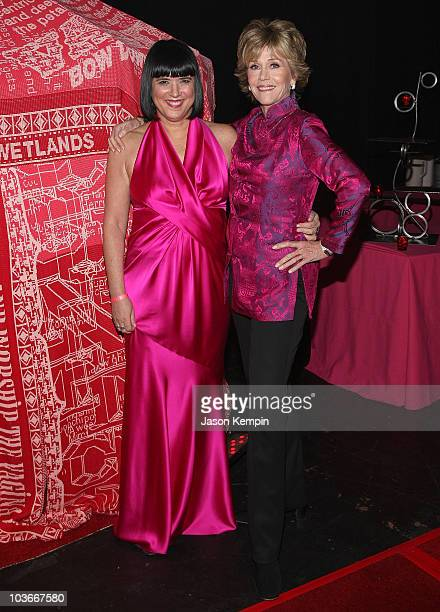 Writer Eve Ensler and actress Jane Fonda attend V-Day's V to the Tenth: NYC - Kickoff to New Orleans at Hammerstein Ballroom on February 14, 2008 in...