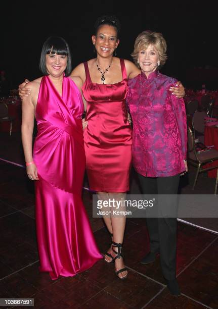 Writer Eve Ensler, singer Troi Bechet and actress Jane Fonda attend V-Day's V to the Tenth: NYC - Kickoff to New Orleans at Hammerstein Ballroom on...