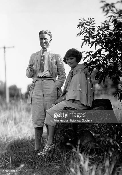 Writer F Scott Fitzgerald and his wife Zelda at their home in Dellwood Minnesota in 1921 Zelda was eight months pregnant with their daughter Frances...