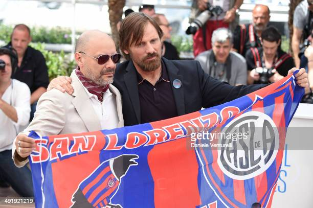 Writer Fabian Casas and actor Viggo Mortensen attend the 'Jauja' photocall at the 67th Annual Cannes Film Festival on May 18 2014 in Cannes France