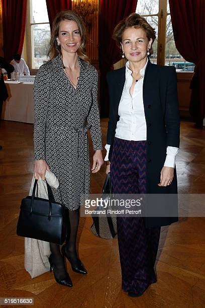 """Writer Felicite Herzog and guest attend writer Marc Lambron receives """"L'Epee d'Academicien"""" of """"Academie Francaise"""" on April 6, 2016 in Paris, France."""